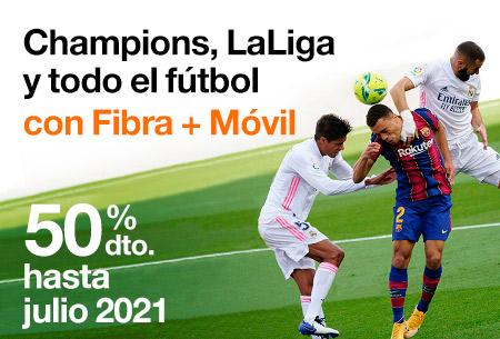 Disfruta de todo el fútbol con Fibra 600Mb y datos ilimitados 5G ¡Con un 50% de dto. 3 meses!
