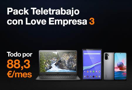 Pack Teletrabajo con Love Empresa 3 por 94,9 €/mes