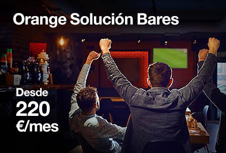Orange Solución Bares por 220€/mes. Tu bar con todo el Fútbol + Fibra + 2 líneas móvil ilimitadas + WiFi Negocio por 0€ durante 6 meses. Llámanos para contratar