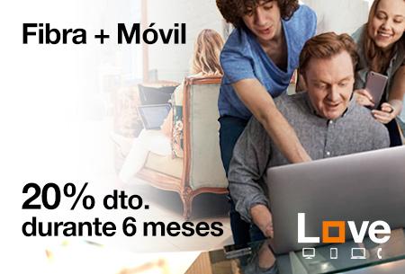 Contrata las tarifas Fibra + Móvil desde 41,56 €/mes, con un 20 % de descuento durante 6 meses