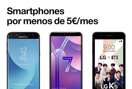 Contrata ahora uno de nuestros smartphones por menos de 5 €/mes