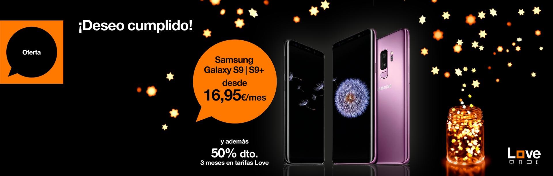 Contrata ahora un Samsung Galaxy S9 o S9+ desde 16,95 €/mes. Además, 50 % de descuento durante tres meses en tarifas Love