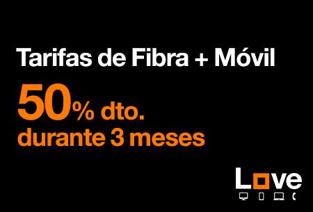 Llévate ahora nuestras tarifas de Fibra + Móvil al 50 % de descuento durante 3 meses