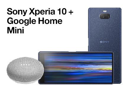 Contrata ahora un Sony Xperia 10 con un Google Home Mini a un gran precio
