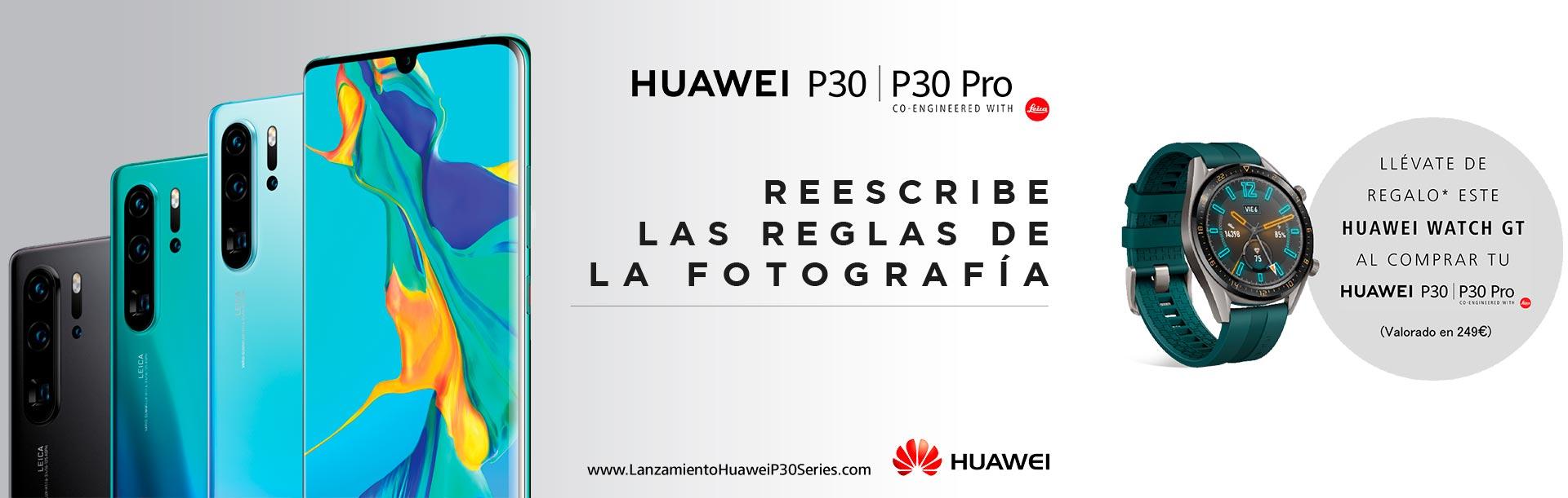 Hazte ahora con el nuevo Huawei P30 o Huawei P30 Pro y llévatelo con un Huawei Watch GT de regalo