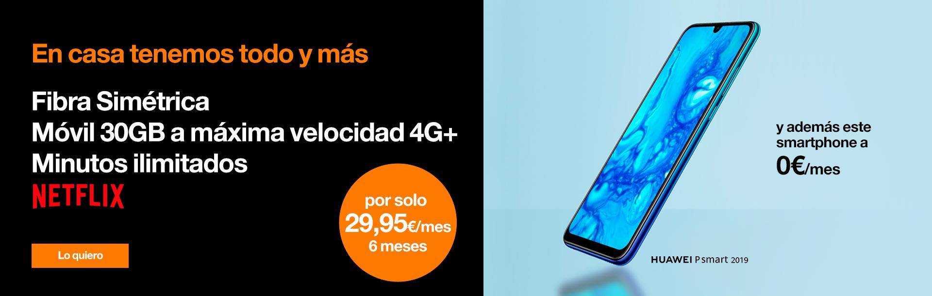 Hazte ahora nuestra tarifa Love Intenso Max por sólo 29,95 €/mes durante 6 meses. Y además, este Huawei P Smart 2019 a 0 €/mes
