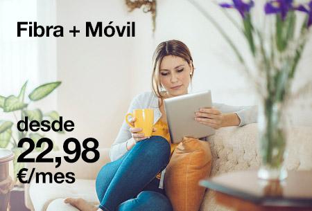 Contrata ahora nuestras tarifas de Fibra + Móvil al 50 % de descuento durante 3 meses. Además, 2x1 en líneas adicionales