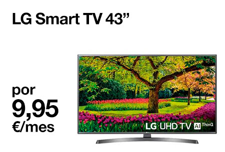 Llévate ahora con esta Smart TV 43' de LG desde 9,95 €/mes