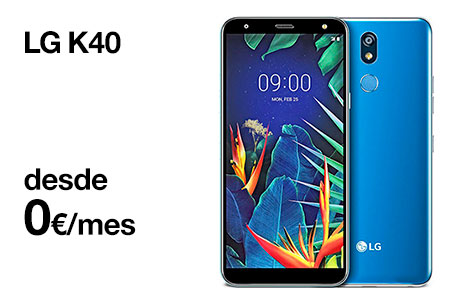 Contrata ahora un LG K40 desde 0 €/mes