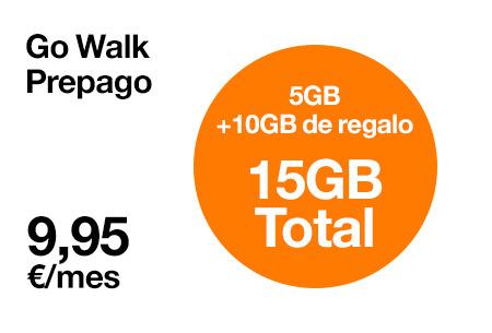 Hazte ahora nuestra tarifa Go Walk por solo 9,95 €/mes. Ahora con 10 GB extra de regalo