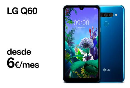 Hazte ahora un LG Q60 desde 6 €/mes. ¡Una gran oferta!
