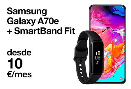 Hazte con un Samsung A70e y un Smartband Fit desde 10 €/mes