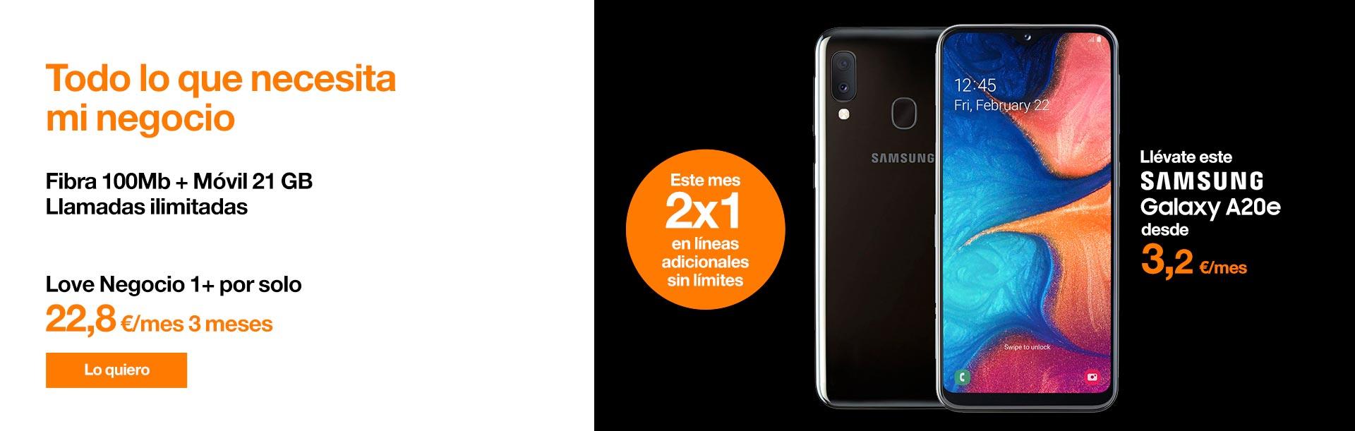 Si eres autónomo, llévate ahora la Love Negocio 1+ por solo 22,80 €/mes durante 3 meses y este Samsung Galaxy A20e desde 3,20 €