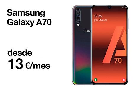 Hazte ahora con un Samsung Galaxy A70 desde 13 €/mes