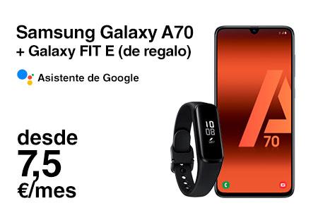 Si eres cliente, renueva ahora por un Samsung Galaxy A70 desde 7,5 €/mes y Galaxy Fit de regalo