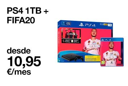 Hazte con este PS4 1 TB + FIFA20 desde 10,95 €/mes