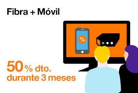 Llévate ahora nuestras tarifas de Fibra + Móvil al 50 % de descuento durante 3 meses. Desde 26,98 €/mes