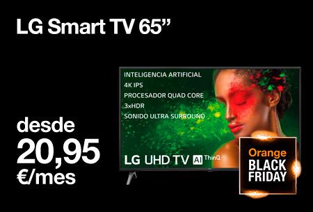 Llévate ahora una LG Smart TV 65' desde 20,95 €/mes con nuestro Orange Black Friday