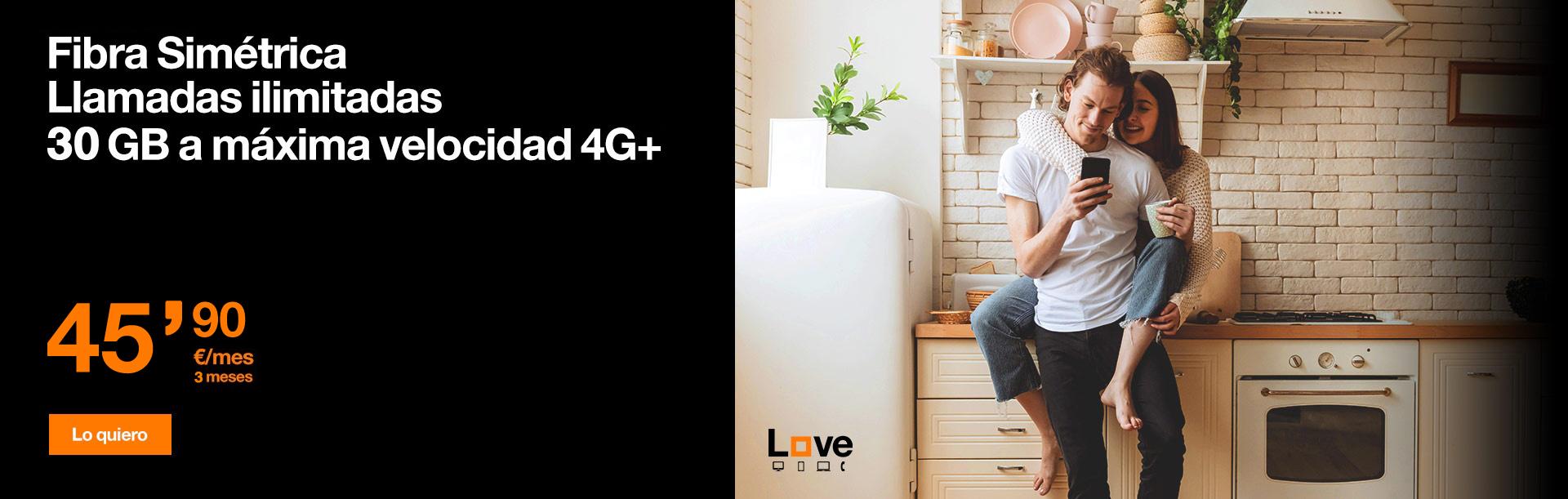 Llévate ahora nuestra nueva tarifa Love Intenso Max 2 con Fibra Simétrica + 15 GB a máxima velocidad 4G+. Además, llamadas ilimitadas y Netflix incluido.¡Todo por sólo 45,90 €/mes durante 3 meses!