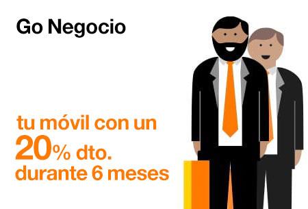 Contrata ahora nuestras tarifas Go Negocio con un 20% de descuento durante 6 meses con Orange