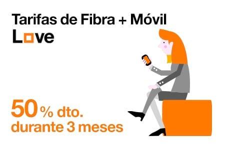 Disfruta de un dto del 50% en tarifas de Fibra + Móvil durante 3 meses con Orange
