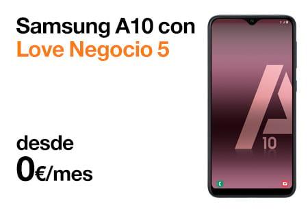 Llévate un Samsung A10 desde 0 €/mes con Love Negocio 5 con Orange