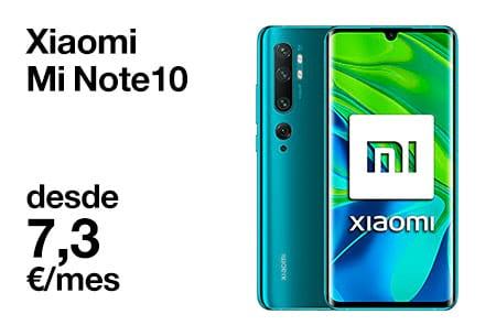 Llévate un Xiaomi Mi Note 10 desde 7,3 €/mes con Orange