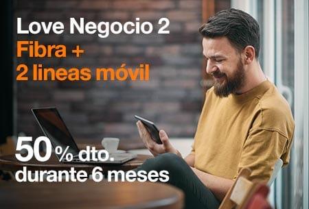 Contrata ahora nuestra tarifa Love Negocio 2, Fibra+2 líneas móvil con Orange