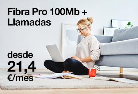 Contrata ahora nuestra Fibra Pro 100Mb + llamadas por 21,4 €/mes con Orange