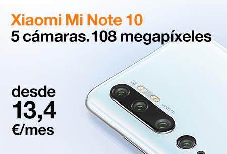 Renueva ahora por un Xiaomi Mi Note 10 desde 13,4 €/mes con Orange