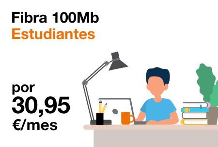 Fibra 100Mb Estudiantes por solo 30,95€/mes ¡Sin compromiso de permanencia!  con Orange